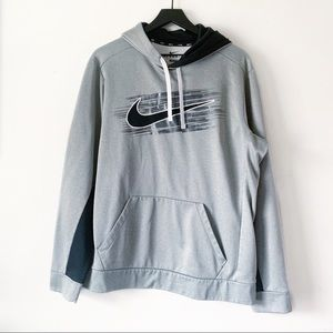 Nike Gray Swoosh Training Pullover Hoodie Large